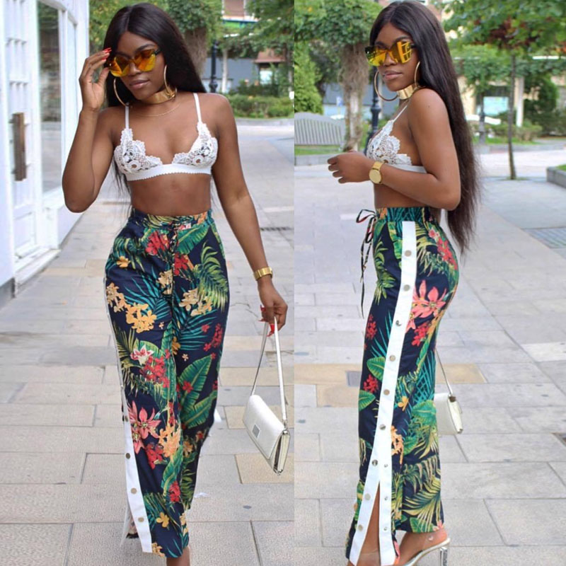 2018 fashion flower african print Palazzo   Wide     Leg     Pant   Women Casual Loose Elegant button sexy club party bandage Trouser Capris