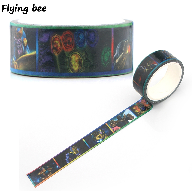 Flyingbee 15mmX5m Paper Washi Tape Gloves Adhesive Tape DIY Scrapbooking Sticker Hero Men Masking Tape X0342