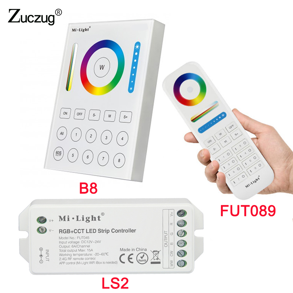 B8 Wall-mounted Touch Panel FUT089 8 Zone remote RF dimmer LS2 5IN 1smart led controller for RGB+CCT led strip MiLight milight wireless ls2 5in1 smart led controller b8 wall mounted touch panel control rgb cct led strip 8 zone rf remote controller