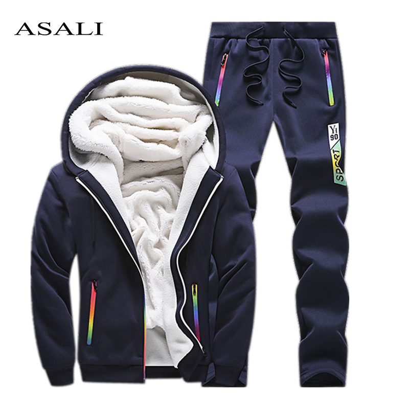 Casual Sweat Suits Men Clothes 2019 Winter Tracksuit Mens Set Two Piece Inner Fleece Thick Hooded Jacket + Pants Man Track Suit