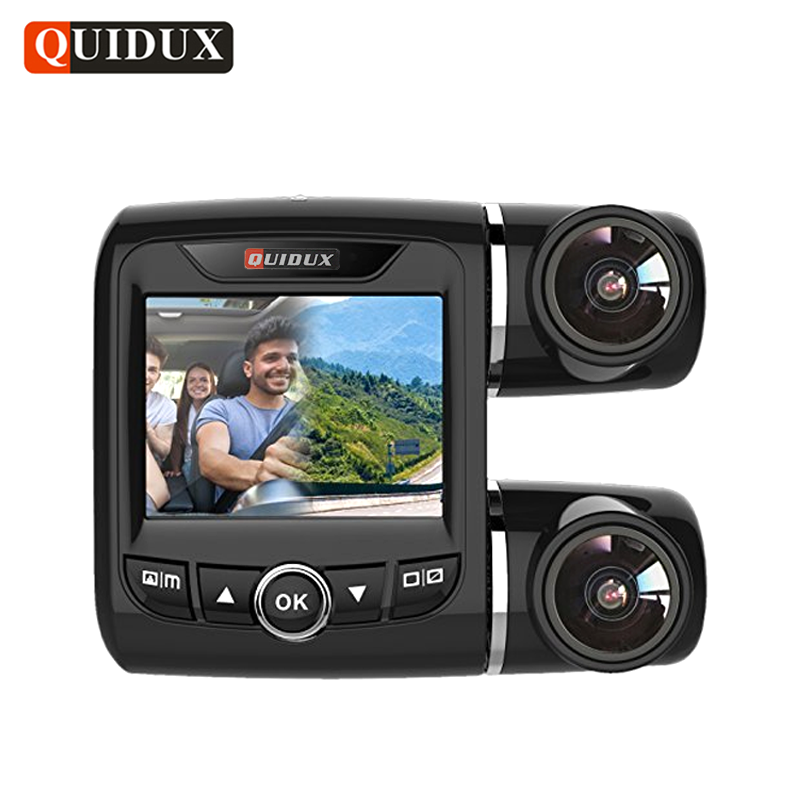 QUIDUX Full HD 1080P Dual Lens Car DVR with 1080P Rear Camera Night Vision Novatek 96663 Car Video Recorder H.264 Dash Camera bigbigroad for peugeot 3008 app control car wifi dvr dual camera video recorder night vision car black box wdr car dash camera