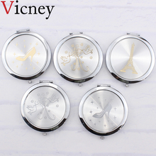 Vicney Makeup Mirror Pocket Mirrors Compact Folded Portable Mini Round Hand Vanity Make Up Tools