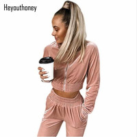 Heyouthoney Women Casual Spring Autumn Zipper Long Sleeve Cropped Tops Velvet Pockets Pants Two Pieces Sets
