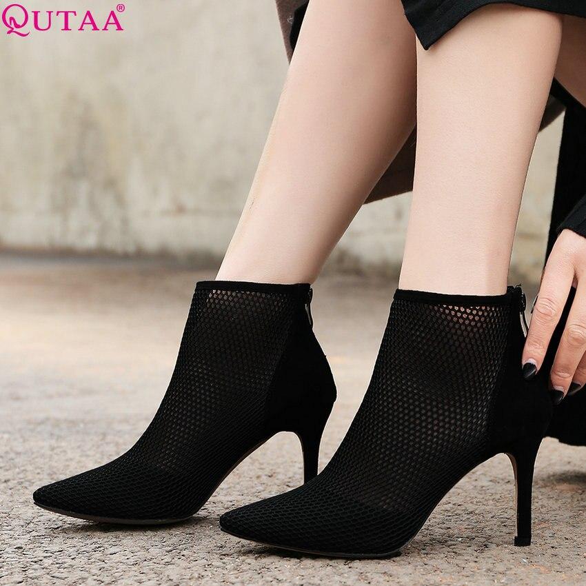 f1e5afbc6b7 34 Qutaa Pointu Dames Peau Zipper En Talon De Mince Femmes 39 2019 noir  Apricot Pompes Haute Mouton Mode Sexy Rome Chaussures Bout ...