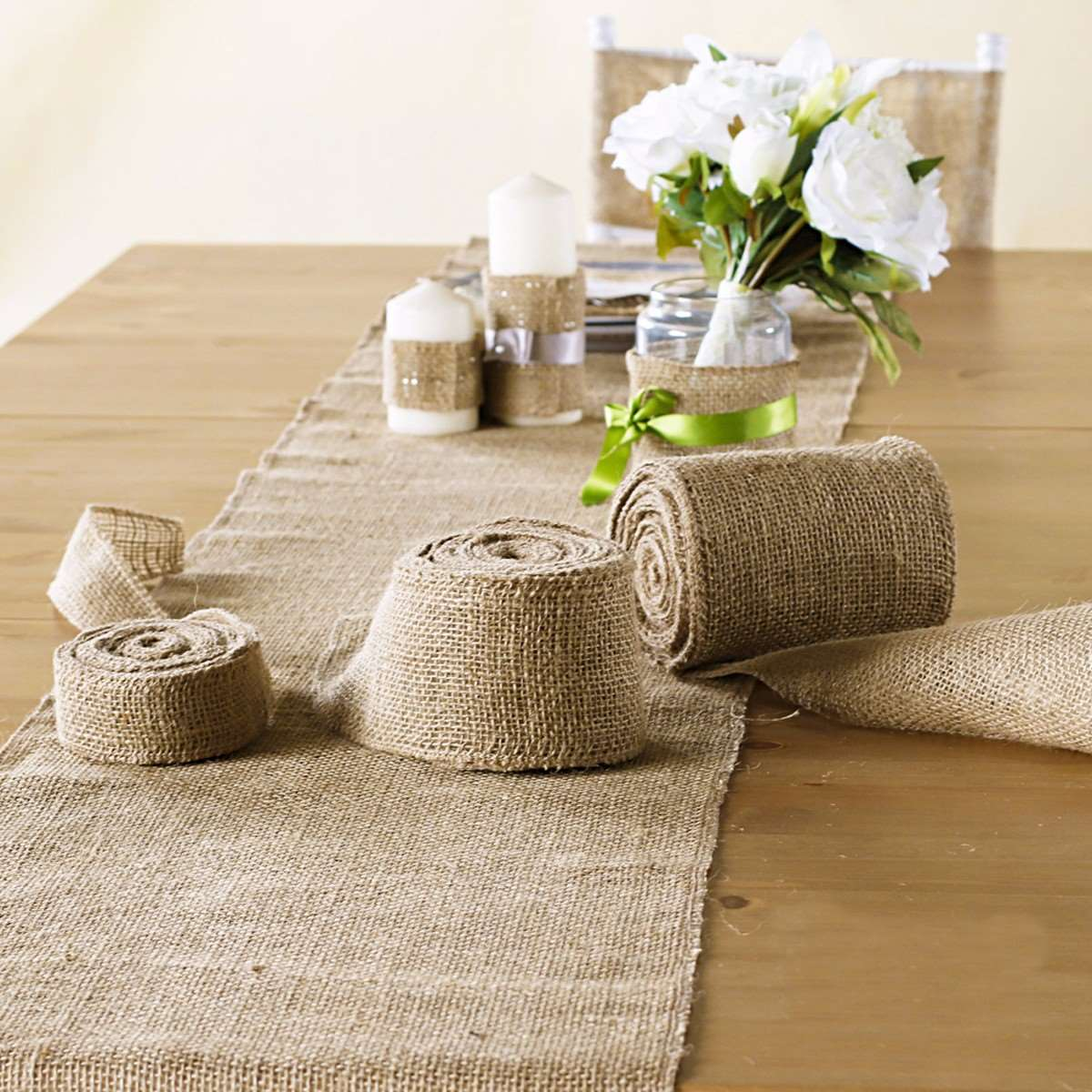 Rustic Hessian Table Runner Chair Cover 10X50cm Hessian Vintage Burlap Jute Shabby Chic Rustic Wedding Decor