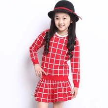 New 2015 girl cotton plaid skirt children 2-8y 11 clothing set brand kids plaid school skirt shirt two piece set spring style