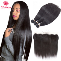 Beau   Hair   Lace Frontal   Closure     With   2/3Bundles Brazilian Straight Human   Hair     Weaves   Bundles   With     Closure   Non Remy   Hair   Extension