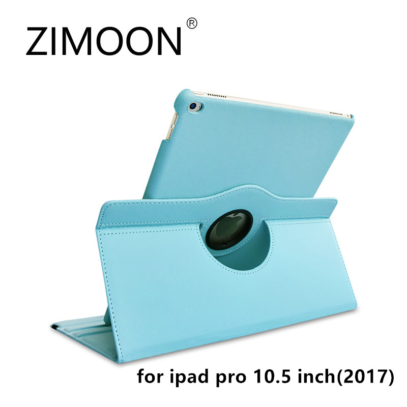 Zimoon Case For Apple iPad Pro 10.5 Inch 2017 Magnetic Auto Wake Up Sleep Flip Litchi Leather Cover With Smart Stand Holder