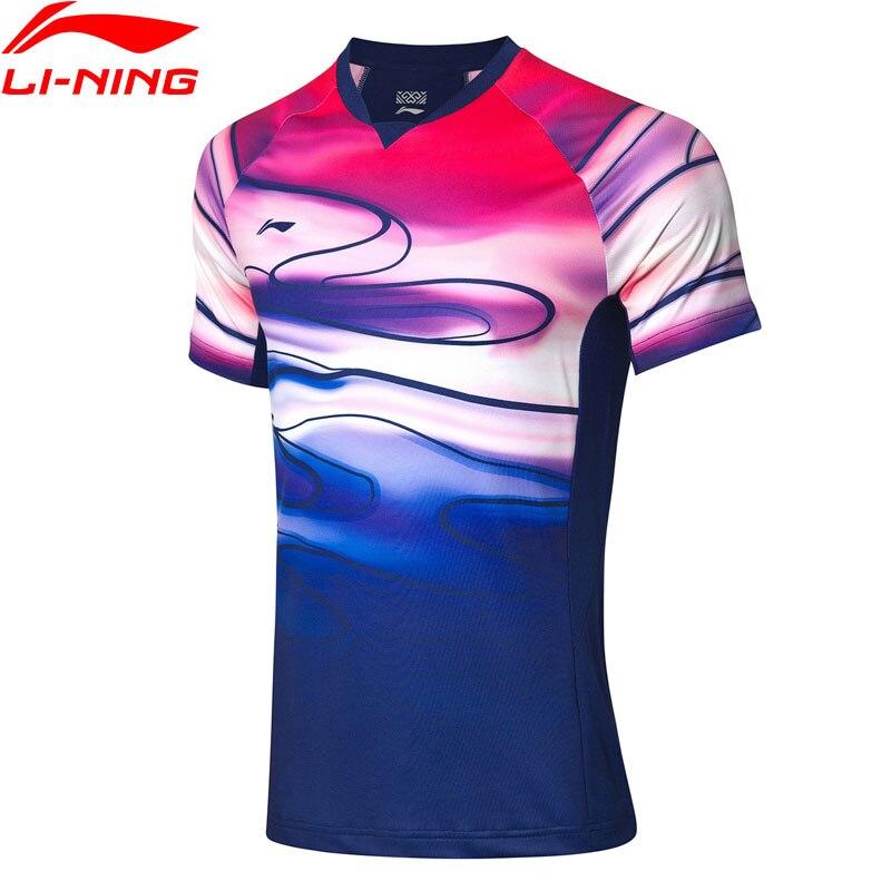 Li-ning hommes Badminton T-shirts pour les Fans de l'équipe nationale Version à sec respirant doublure sport compétition Tee AAYP071 MTS3084