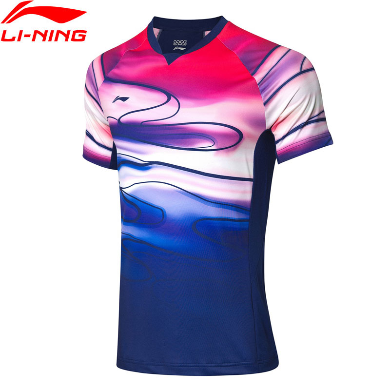 Li-Ning Men Badminton T-shirts For National Team Fans Version AT DRY Breathable LiNing Li Ning Competition Tee AAYP071 MTS3084