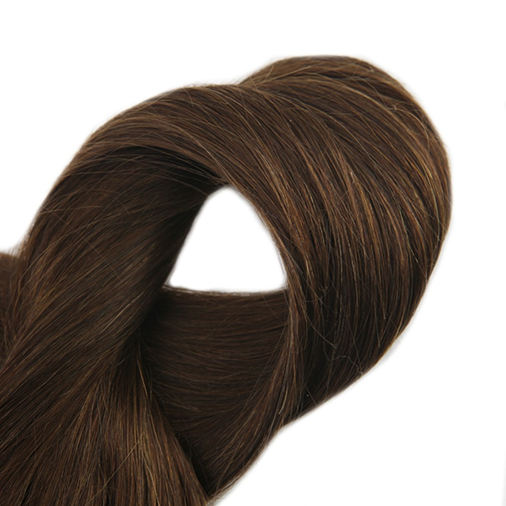 Full Shine Straight Remy Human Flip Hair Extensions 4 Dark Brown No