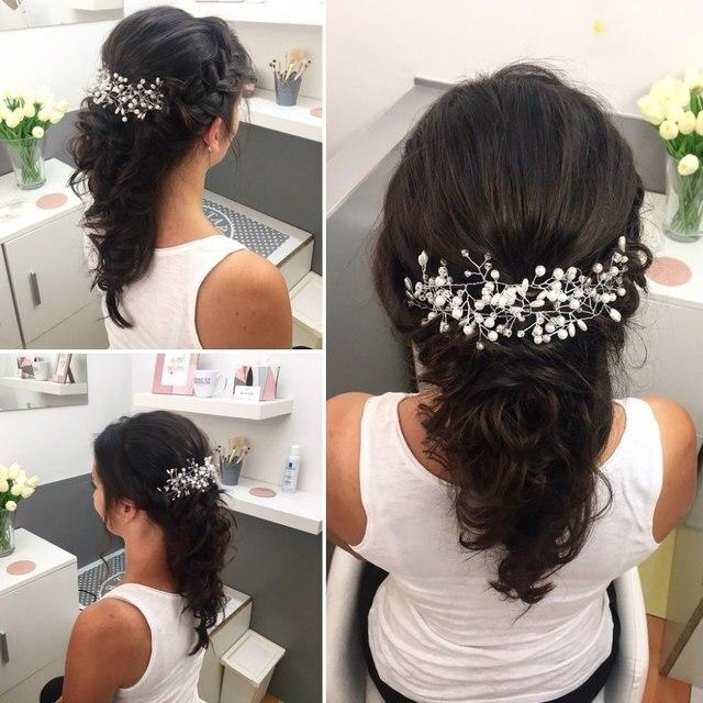 Zachodnie wesele moda stroik dla panny młodej Handmade korona ślubna w kwiaty z perłami akcesoria do włosów ozdoby do włosów