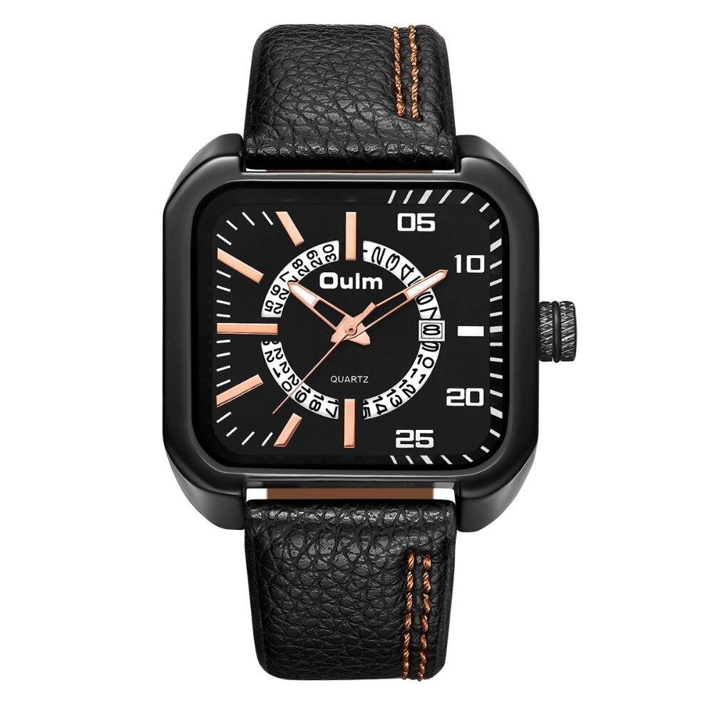 где купить 2018 OULM Watch Men Original Unique Design Square With Date Clock Casual Business Leather Strap Quartz Watch Male Sport Watches дешево
