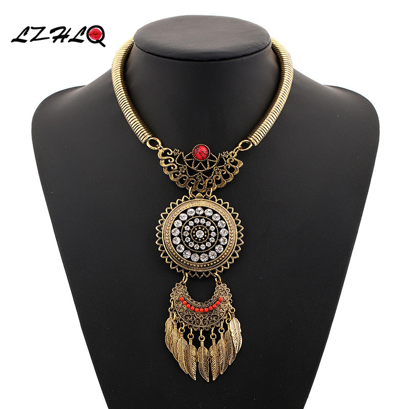 LZHLQ 2017 Fashioin Women Necklace Vintage Statement Necklaces Pendants  Bohemia  Leaves Tassels Jewelry  Accessories 5 Colors