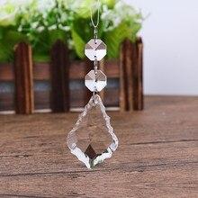 10 шт./лот, 50*35 мм кленовые кристалл в форме листика+ 2x Восьмиугольные+ 3 кольца Разъем стеклянное свадебное украшение кленовый кристалл кулон