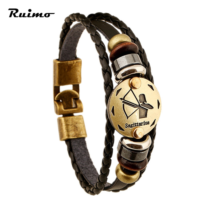 12 Zodiac Sings Bracelets Fashion Jewelry Leather Bracelets Men Casual Personality Alloy Vintage Punk Bracelet BC001