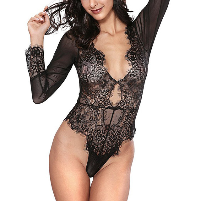 0ebbe6c1629 Women Sexy Lingerie Long Sleeve Bodysuit Sexy Lace Deep V Bodydoll Lingerie  Deep V Neck Hollow