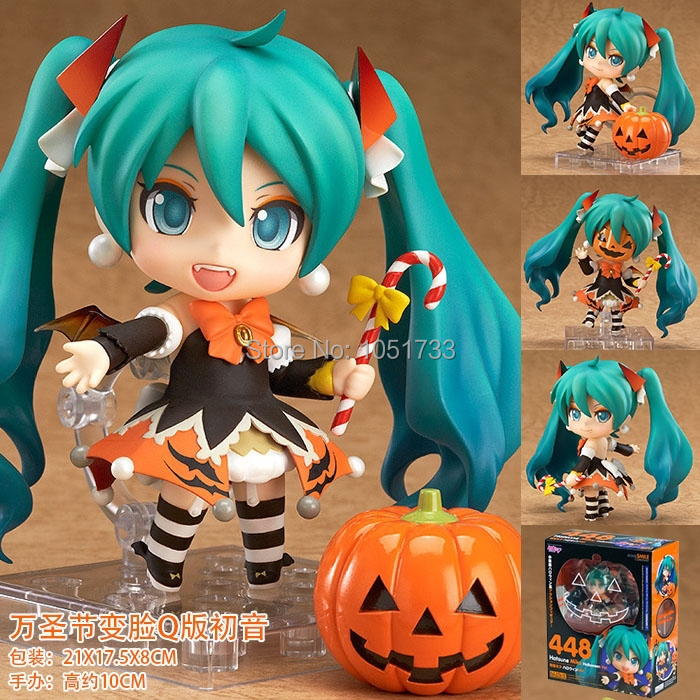 цена на Free Shipping Cute 4 Nendoroid Vocaloid Hatsune Miku Halloween Ver. 10cm Boxed PVC Action Figure Set Model Collection Toy #448
