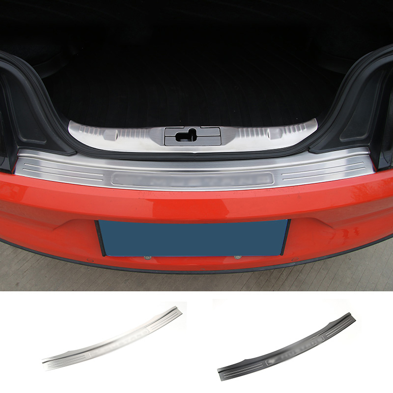 SHINEKA Rear Trunk Step Entry Guards Cargo Door Cover Rear Bumper Anti Scratching Stainless for Ford Mustang 2015+Free Shipping interior black rear trunk cargo cover shield 1 pcs for kia sportage 2016 2017