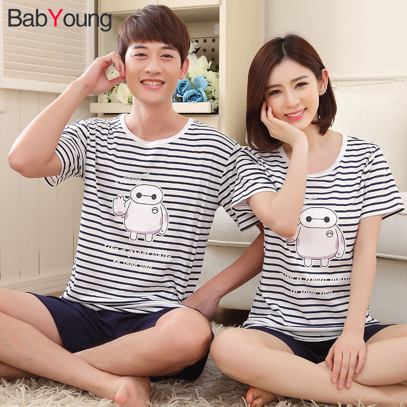 94bf015928 Detail Feedback Questions about BabYoung Couple Pajama Sets Summer Cotton  Cartoon Short Sleeve Women Men Pijama Leisure Short Sleepwear Pyjama Home  Wear ...