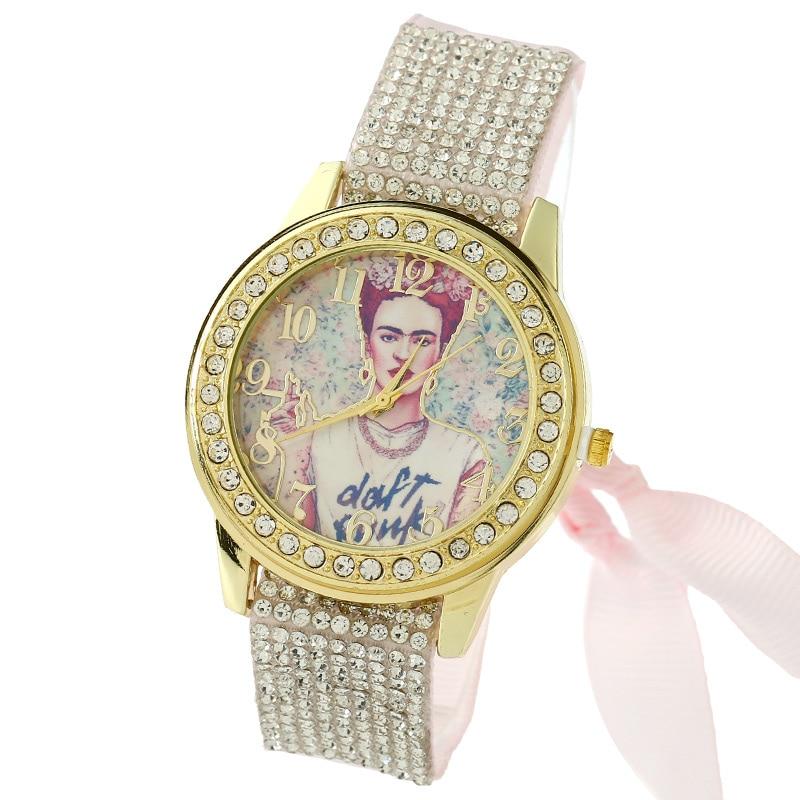 Gnova Platinum Lace Women Watch vintage Frida Punk Rhinestone Dial Geneva Style Fashion quartz wristwatch Reloj femenino A844 ложка для пасты tefal talent k0800214
