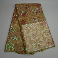 high quality latest sequin Nigerian style multi color bridal fabric double organza lace for wedding dress