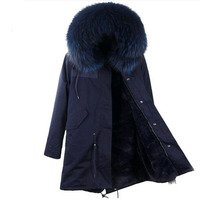 Free DHL 5 7 Fashion women's top quality faux fur lining winter jacket coat natural Raccoon fur collar hooded long parka outwear