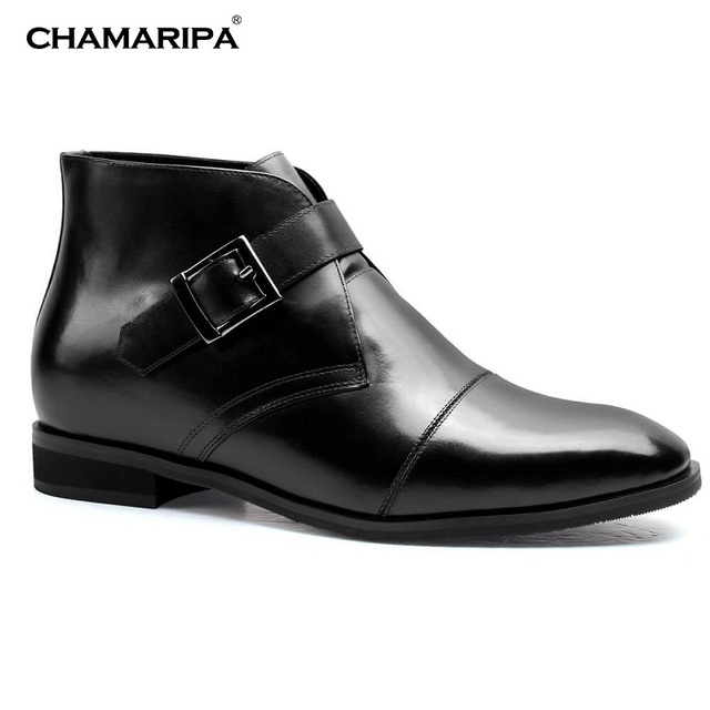 733cd20ac6b4 CHAMARIPA Men Elevator Shoes 7cm 2.76 inch Increase Height Taller Gentlemen High  Heel Boot Black Leather Shoes H72B11K102D