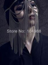 Envío Gratis nuevo estilo por 01 mujeres moda gris-negro metal plateado cadena MULTI-LAYERS cadenas cabeza joyería de la cadena