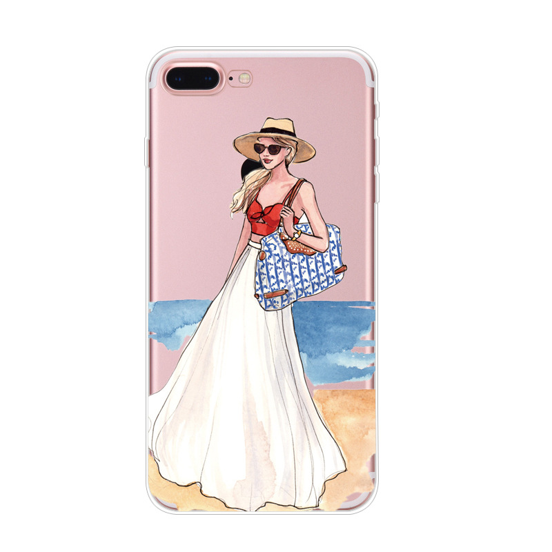 2018 Cell Phone Modern Sexy Travel Girl Summer Outing Relax Beach Phone Case For Iphone X 5 5s Se 6 6s 7 Plus 8 Plus Luxury