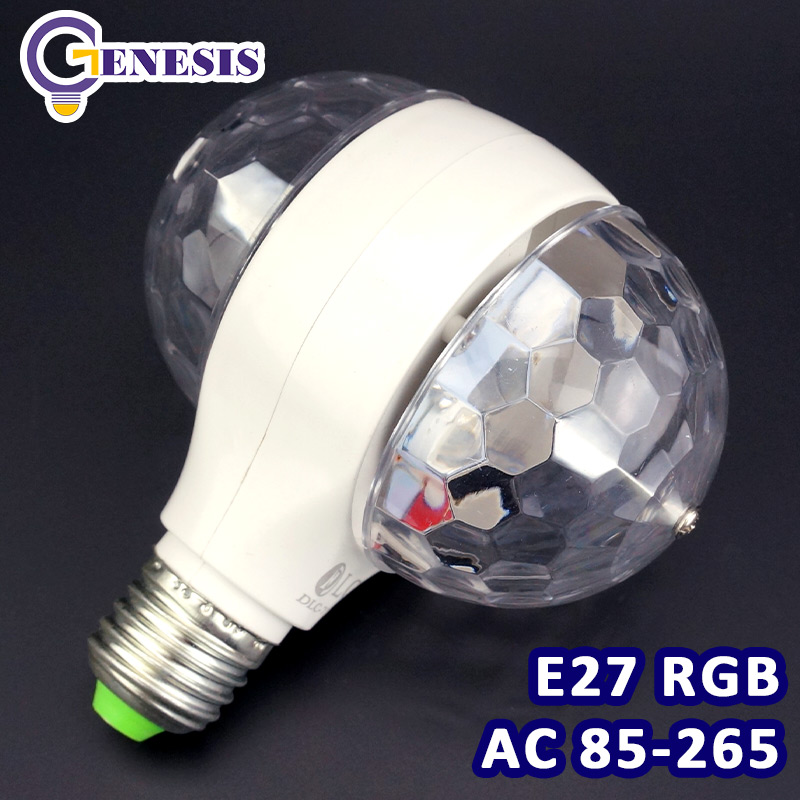 E27 6W Colorful Auto Rotating RGB LED Bulb Housing Stage Light Party Lamp Disco ASAF ARE4