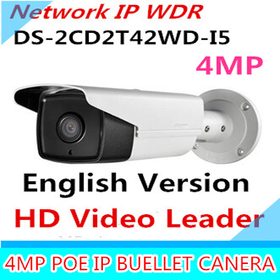 English Version DS-2CD2T42WD-I5 IP Camera 4MP EXIR IR 50M Bullet Network Camera Support POE WDR Bullet Camera IP 2688*1520 free shipping hikvision ds 2cd2t42wd i3 english version 4mp exir network bullet ip security camera poe 120db wdr 30m ir h 264