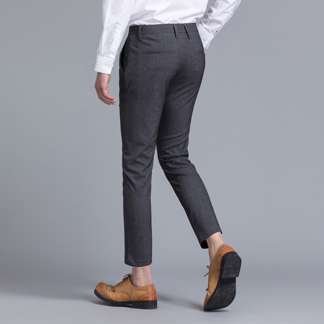 Limited Brand Clothing Men Casual Pants Spring Summer Mid Full Length New Fashion 2020 Slim Straight Man Trousers Plus Ankle 2