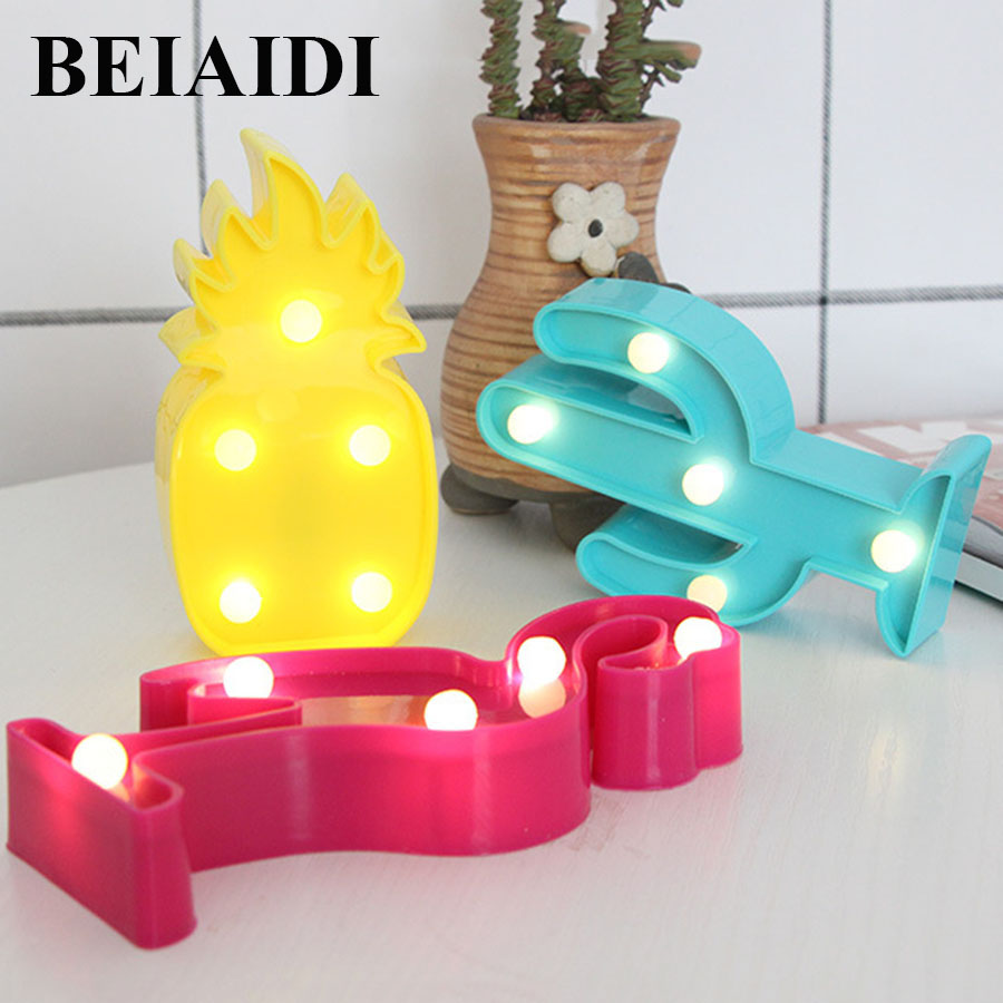 BEIAIDI Cute LED Flamingo Unicorn Night Lights Cartoon Animal Led Night Lamp Pineapple Cactus Desk Table Lamp For Baby Kids Gift beiaidi 7 color usb rechargeable rabbit led night light dimmable animal cartoon light with remote baby kids christmas gift lamp