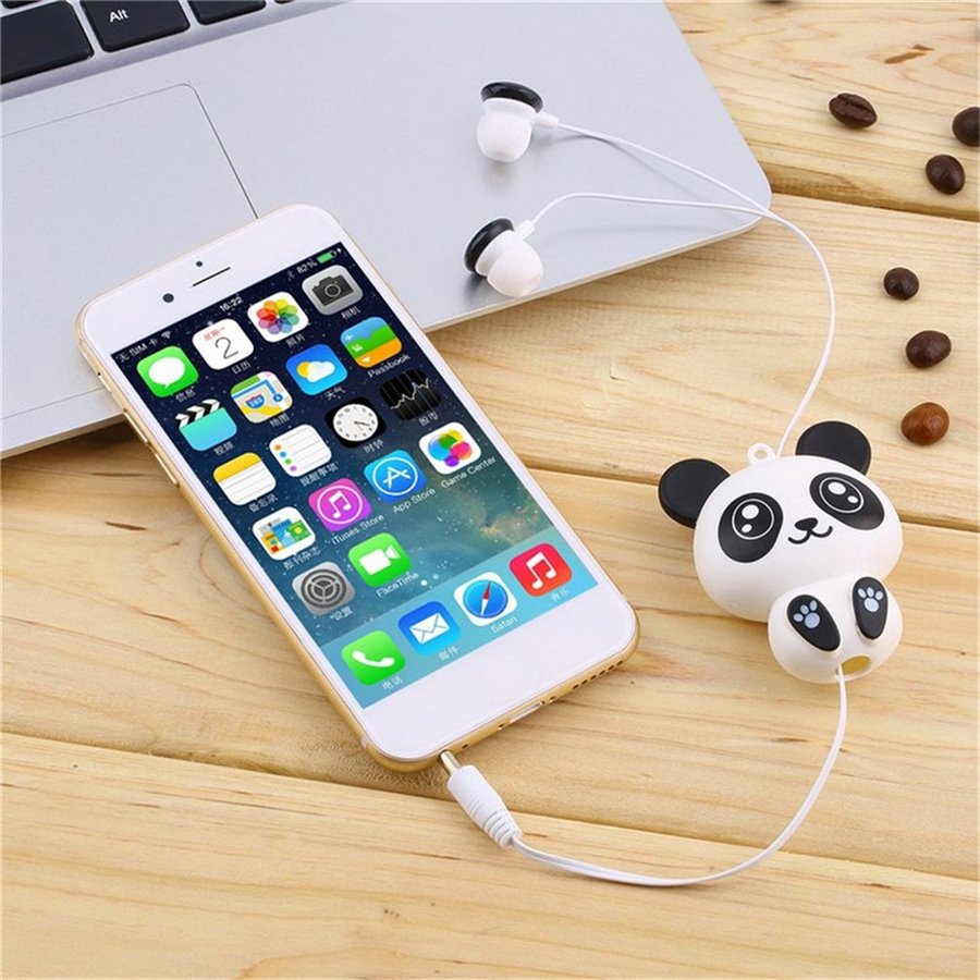 Cute Kawaii Cat Bear Panda Cartoon Retractable Earphone for Samsung Xiaomi Huawei Sony for IPhone 5 5s 6 6s plus MP3 MP4 Gift cute cartoon cat claw style in ear earphones for mp3 mp4 more blue white 3 5mm plug