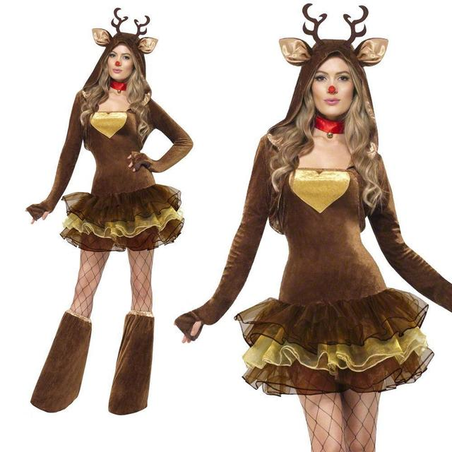 3eb69ff084ff0 2018 Women Reindeer Christmas Outfit Sexy Animal Adult Santa Claus Costume  Cute Deer Tutu Dress XMAS