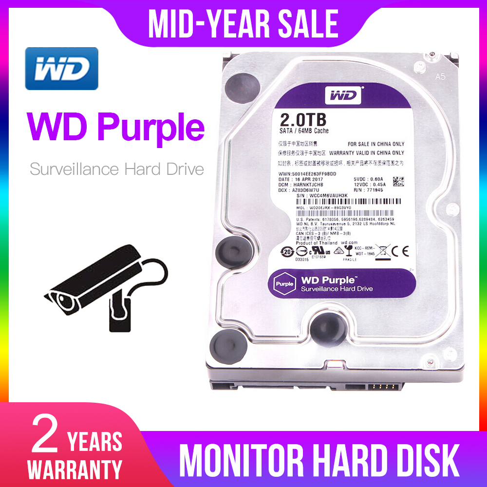 "Western Digital WD Purple Surveillance HDD 1TB 2TB 3TB 4TB SATA 6.0Gb/s 3.5"" Hard Drive For Cctv Camera AHD DVR IP Camera NVR"