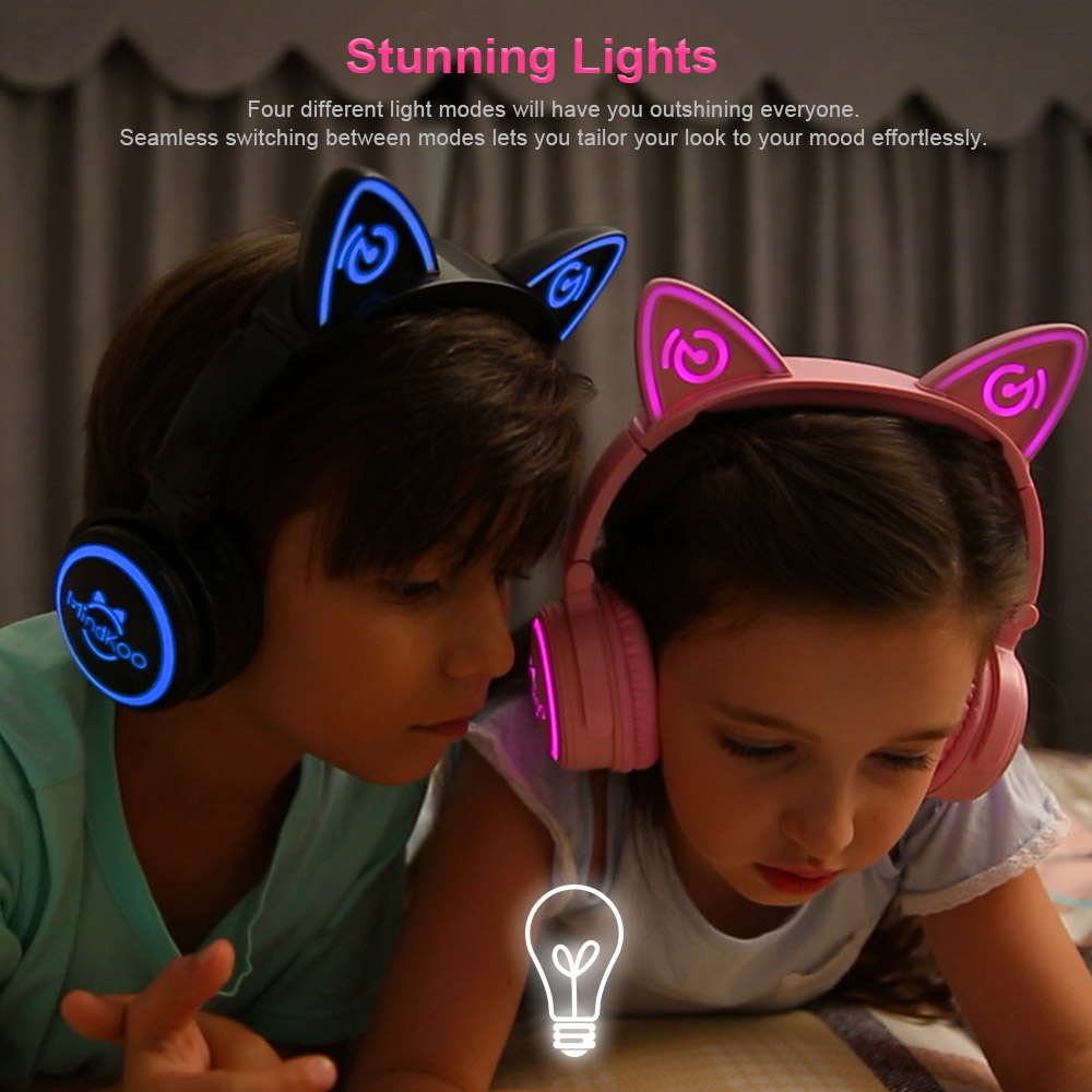 Mindkoo 2018 Cat Ear headphones LED Ear headphone cats earphone Flashing Glowing Headset Gaming Earphones for Adult and Children lobkin cat earphones children s headphones flashing glowing cosplay fancy over ear gaming headset with led light for girls kids