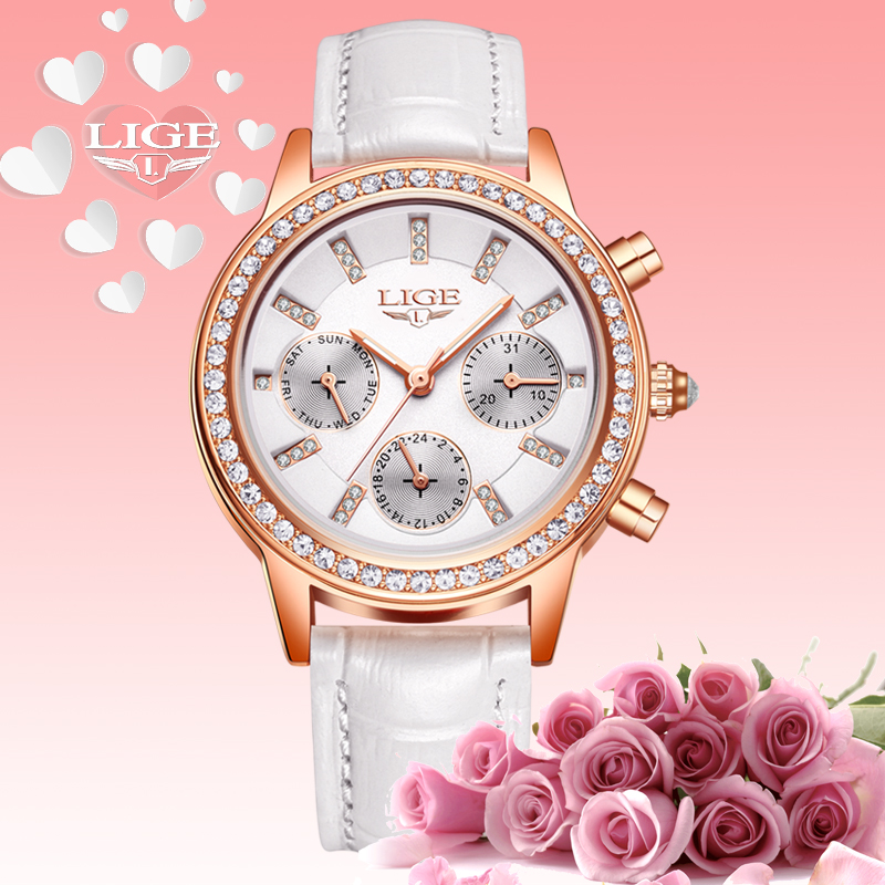 Women Watches Relogio feminino LIGE Luxury Brand Girl Quartz Watch Casual Leather Ladies Dress Watches Women Clock Montre Femme famous brand sinobi women leather dress watches ladies luxury casual quartz watch relogio feminino female rhinestone clock hours