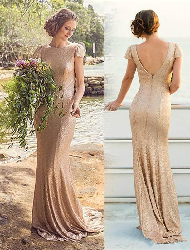 Rose Gold 2019 Cheap Bridesmaid Dresses Under 50 Mermaid Cap Sleeves Sequqins Long Wedding Party Dresses For Women