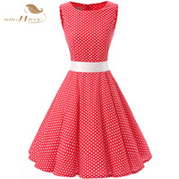 SISHION 2018 Party Dress Women Ladies Sleeveless Elegant Polka Dot Red Rockabilly Retro Vintage Large Swing Sexy Dress VD0115
