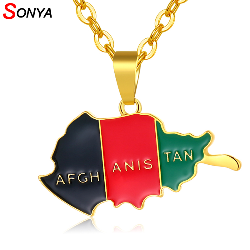 SONYA <font><b>Afghanistan</b></font> Map and Flag Pendant Necklace For Women/Men Gold Color Jewelry Afghan Country Jewelry Bijoux Femme image
