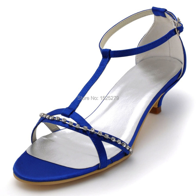 EP2111 Blue Women Bride Open Toe Bridal Prom Party Sandals Rhinestones Low  Heels T-straps Buckle Satin Wedding Shoes 3c8a9a07e215