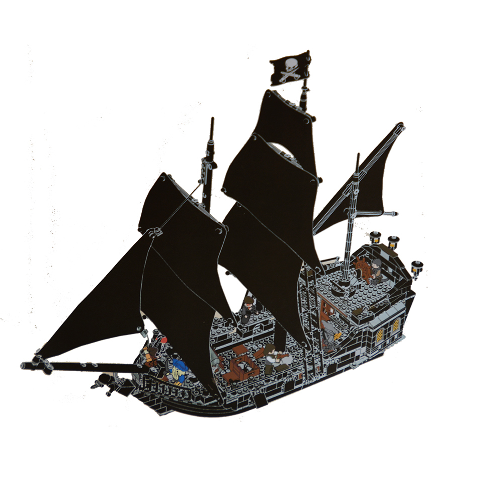 16006 804pcs building blocks Pirates of the Caribbean the Black Pearl Ship model DIY Educational bricks Toys Compatible 4184