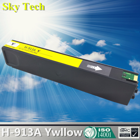 Yellow Pigment Ink Cartridge For HP913A Yellow , For HP PageWide 352dw 377dw Pro 452dw 452dn 452dwt 477dw MFP 477dwt 552dw