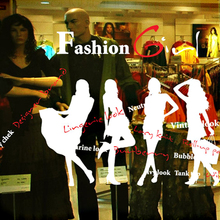 Car Clothing Store Decoration Decal Sexy Lady Girls Glass Wall Sticker Clothing Store Decal Cloakroom Showcase Decor