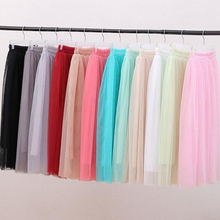 FOLOBE Multi Color 3 Layers Vintage Fashion Womens Girls Long Tulle Skirts Solid