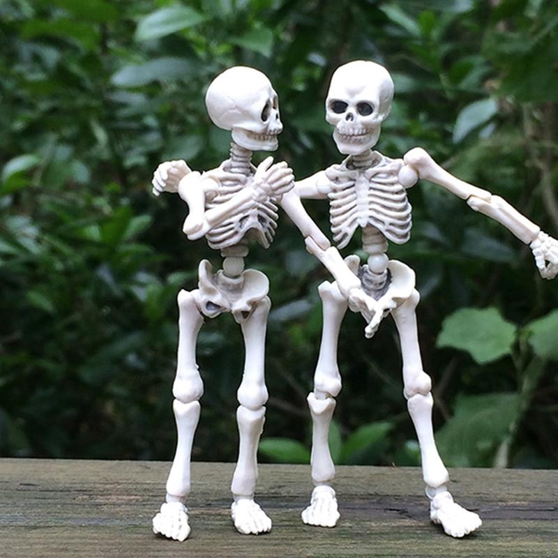 Top Quality 1pc Funny Movable Mr. Bones Skeleton Human Model Skull Full Body Mini Figure Toy Halloween Gift For Children Kids