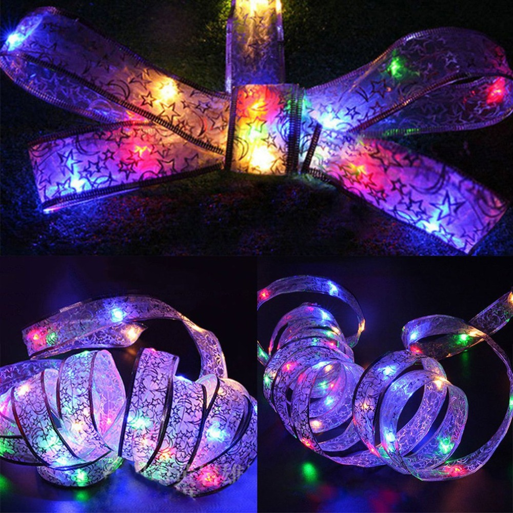 4m Colorful LED Ribbon Window Curtain Lights String Lamp String Bowknot Fairy Lights Christmas Birthday Party Garden Decoration