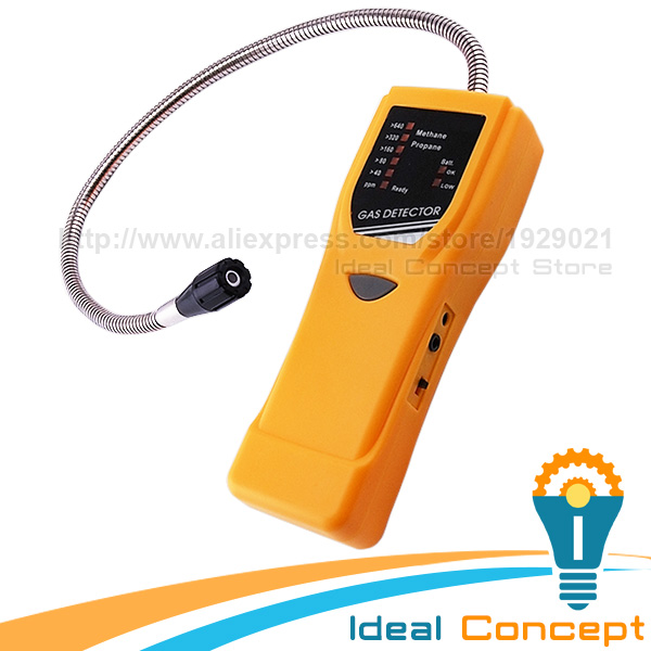 Gas Leak Detector Methane Propane Gases LED Alarm Indicator with Earphone Jack 40-640ppm Range